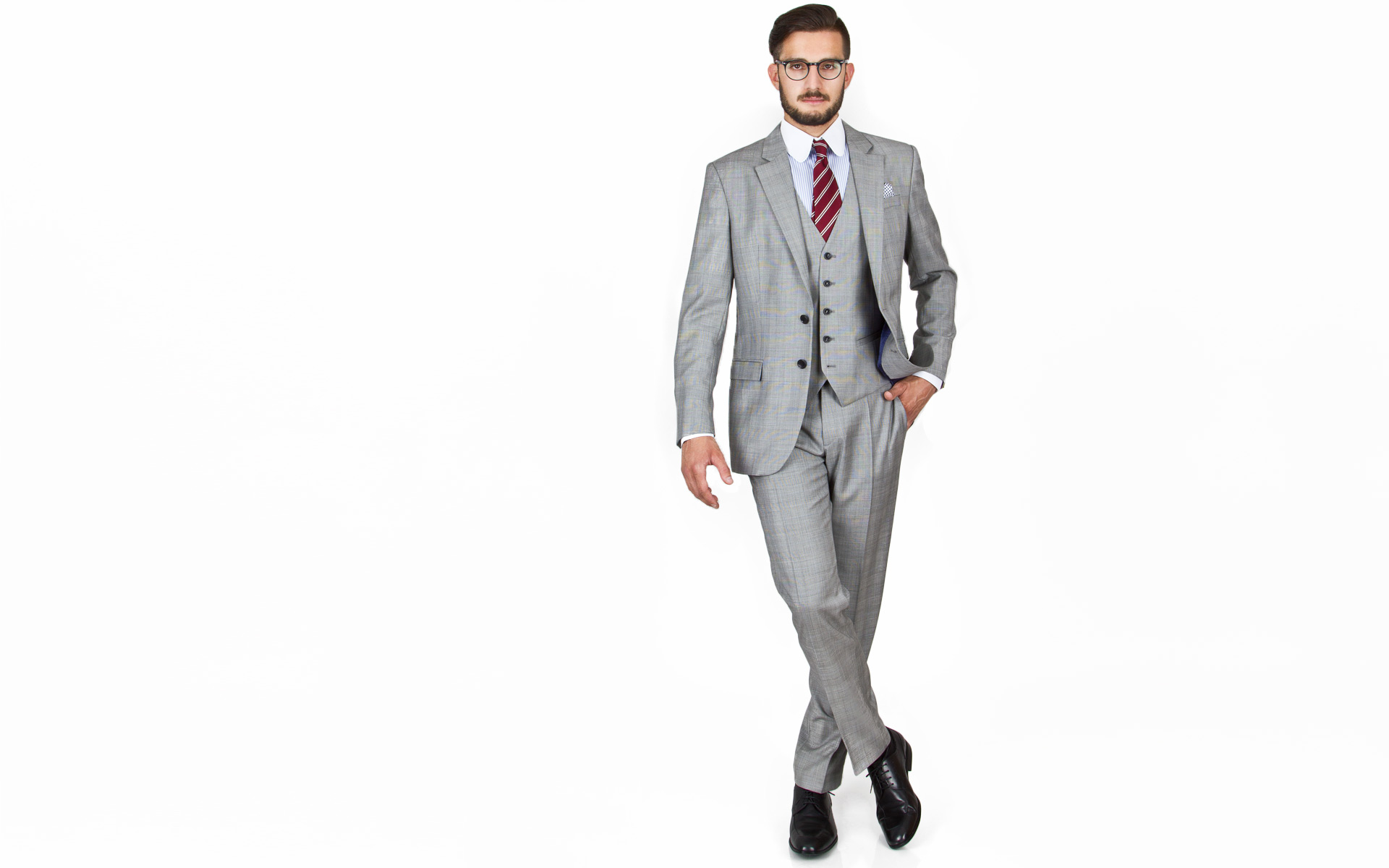 Light Grey Plaid 3 Piece Suit