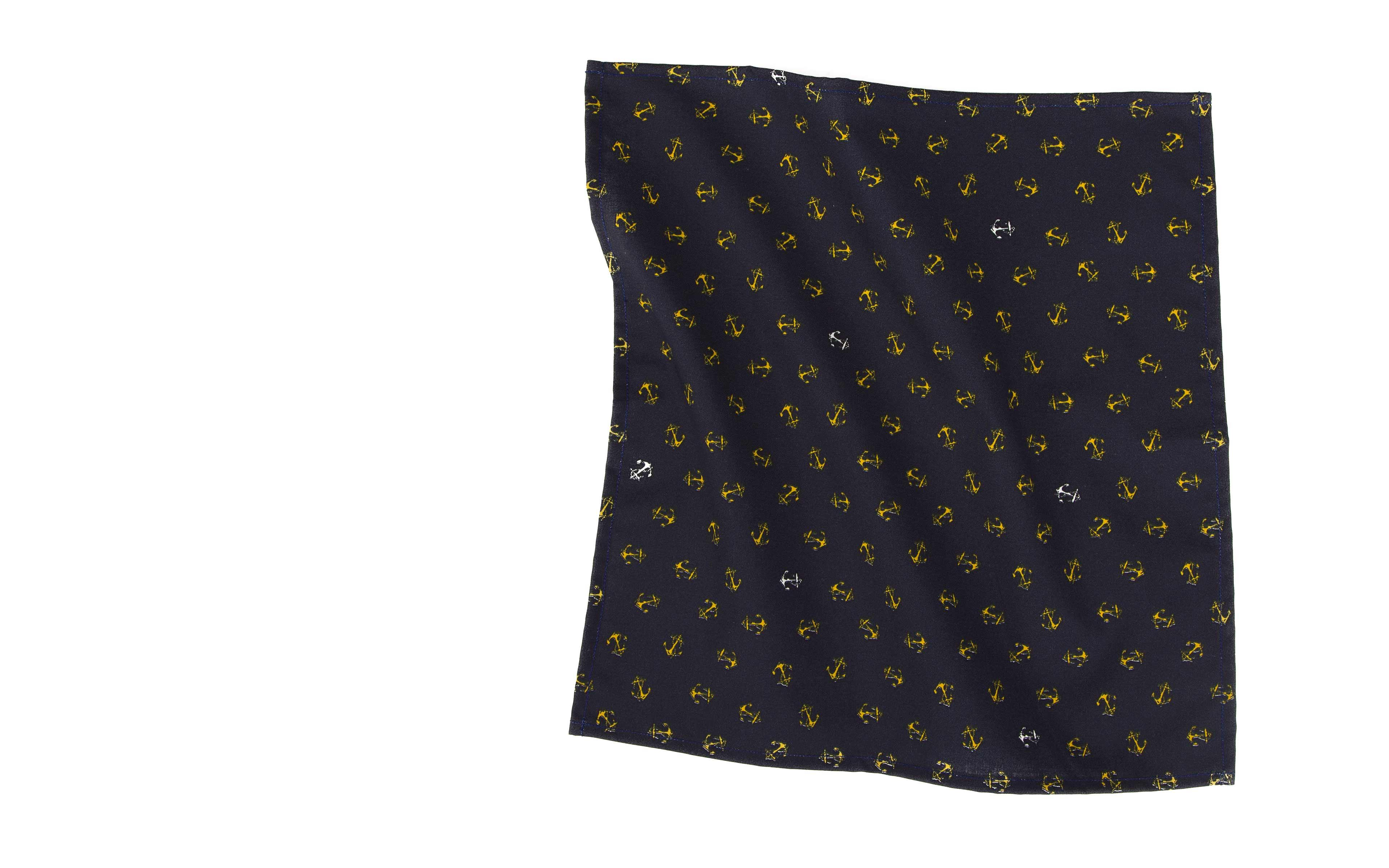 Navy Pocket Square With An Anchor Pattern