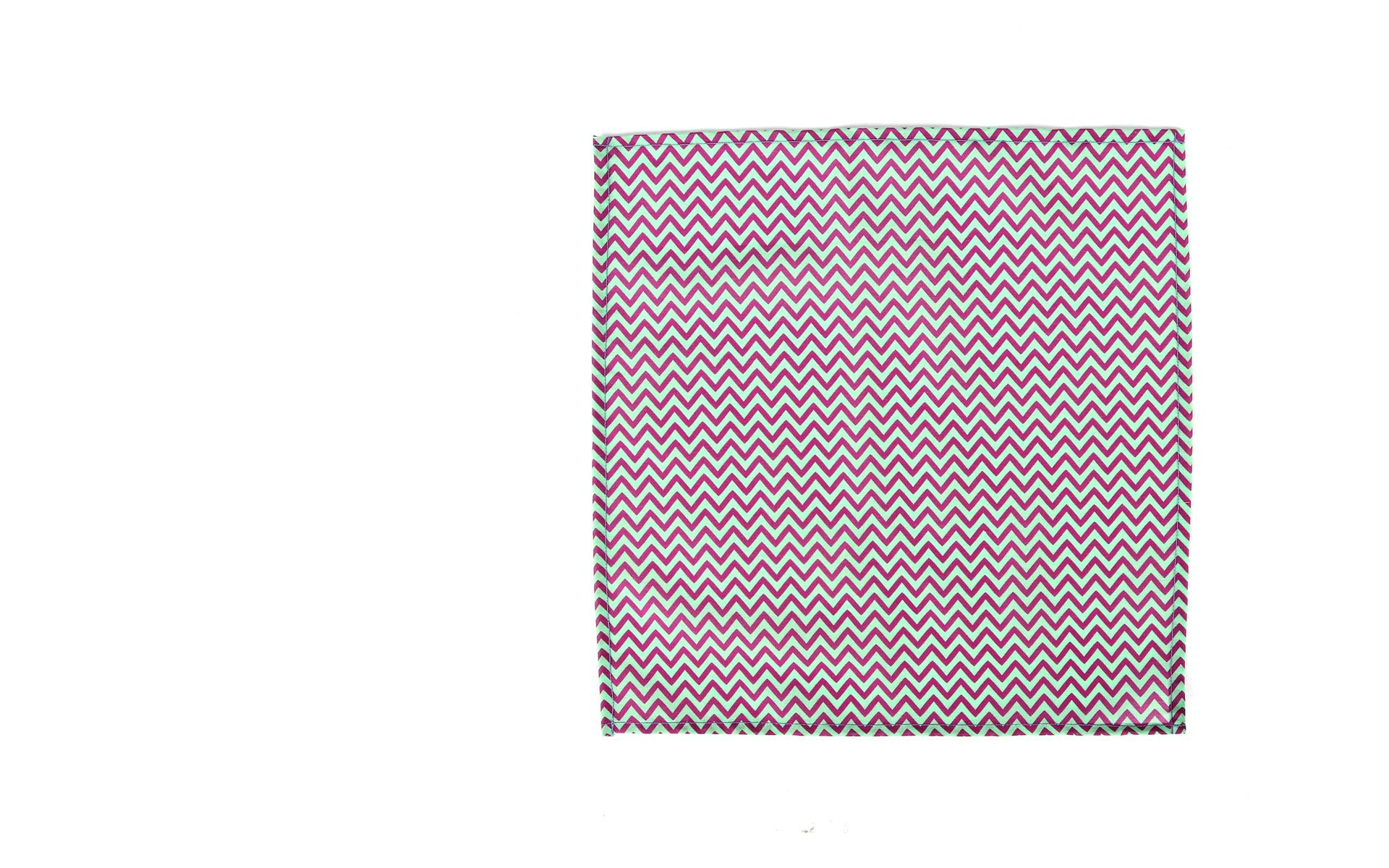 Pink & Green Chevron Patterned Pocket Square