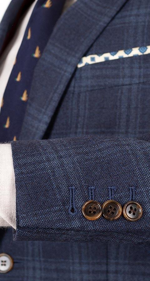Steel Blue Check Wool & Cashmere Suit