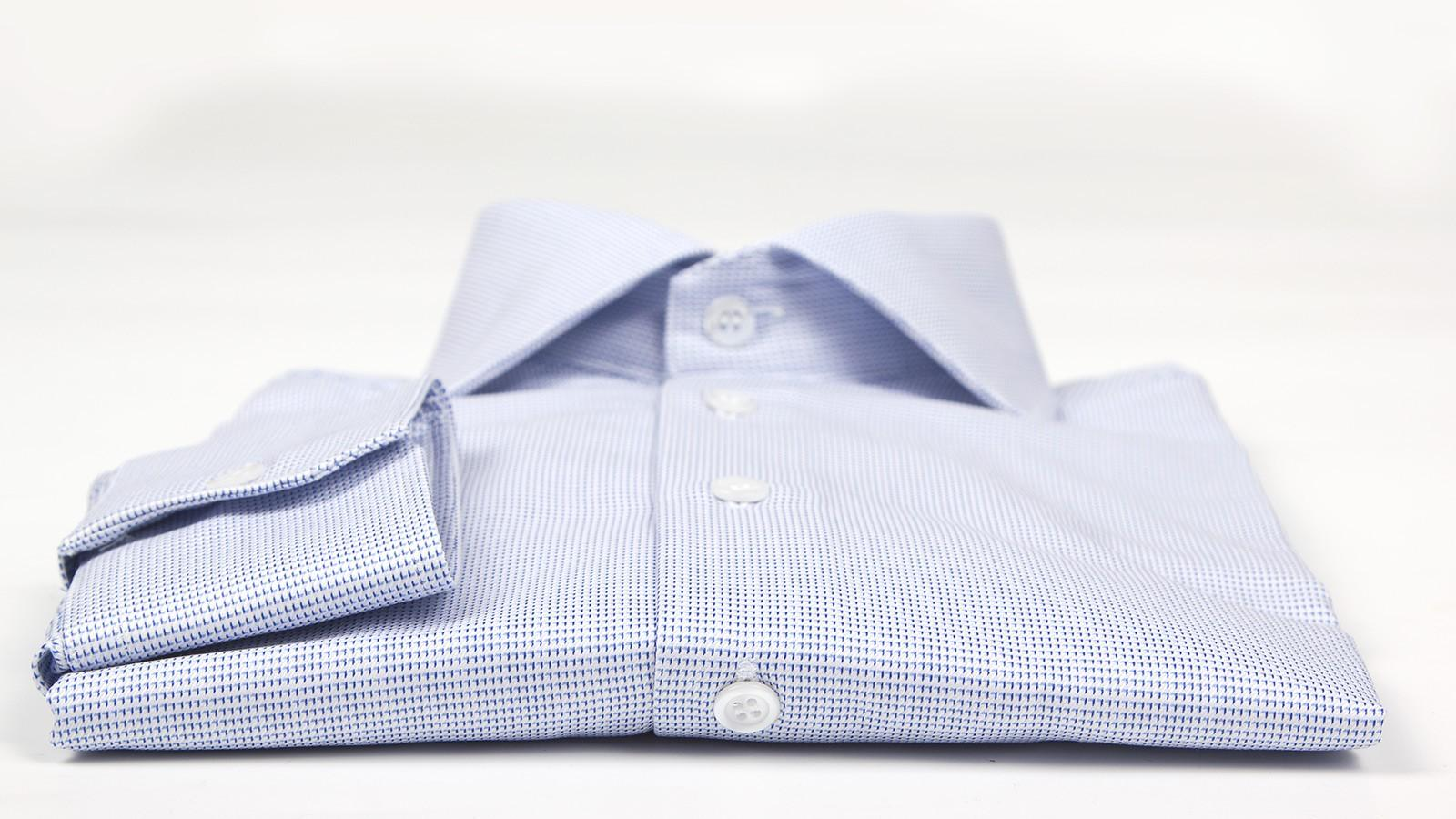 Micropatterned White & Blue Two-ply Cotton Shirt - slider image 1
