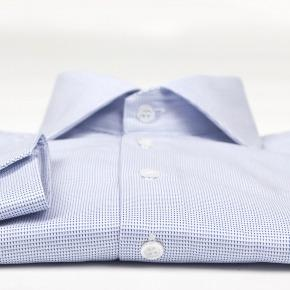 Micropatterned White & Blue Two-ply Cotton Shirt - thumbnail image 1