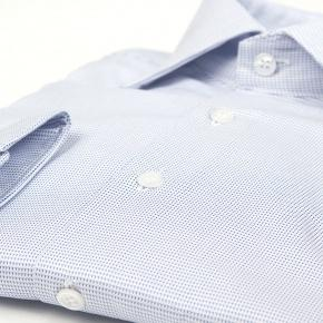 Micropatterned White & Blue Two-ply Cotton Shirt - thumbnail image 2