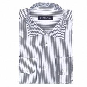 Blue Oxford Stripe Cotton Shirt - thumbnail image 1