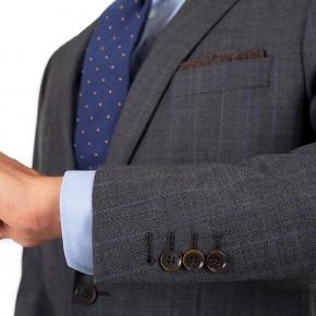 Blue Stripe Grey Natural Stretch Suit - thumbnail image 2