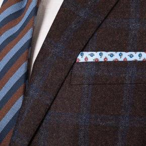 Blue Windowpane Brown Wool & Cashmere Suit - thumbnail image 1