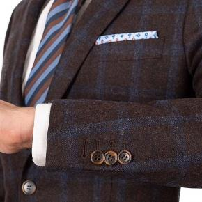Blue Windowpane Brown Wool & Cashmere Suit - thumbnail image 2