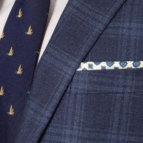 Steel Blue Check Wool & Cashmere Suit - thumbnail image 1