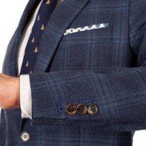 Steel Blue Check Wool & Cashmere Suit - thumbnail image 2