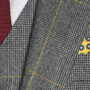 Grey Plaid With Yellow Overcheck 3 Piece Suit - thumbnail image 1