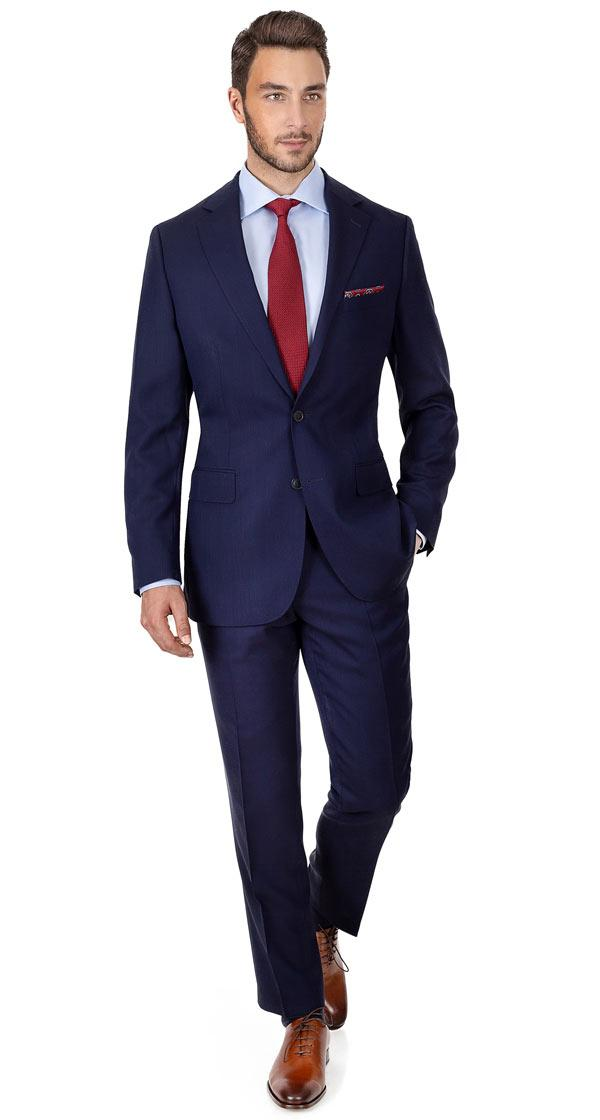 Navy Hopsack Natural Stretch Suit