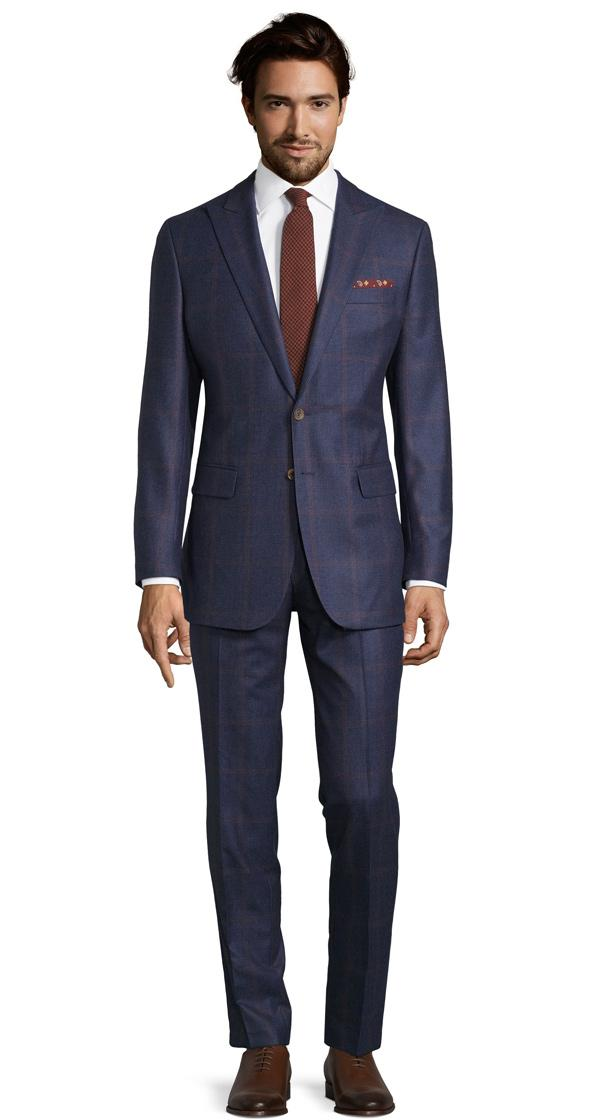 Tangerine Check Navy Plaid Suit