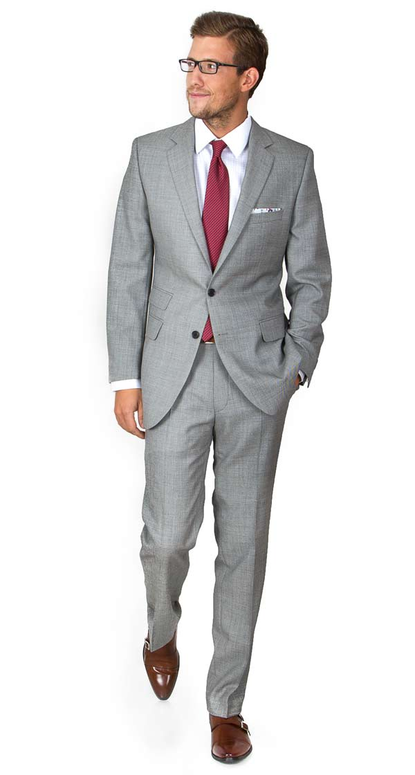Light Grey Pick & Pick Suit in English Wool [out of stock]