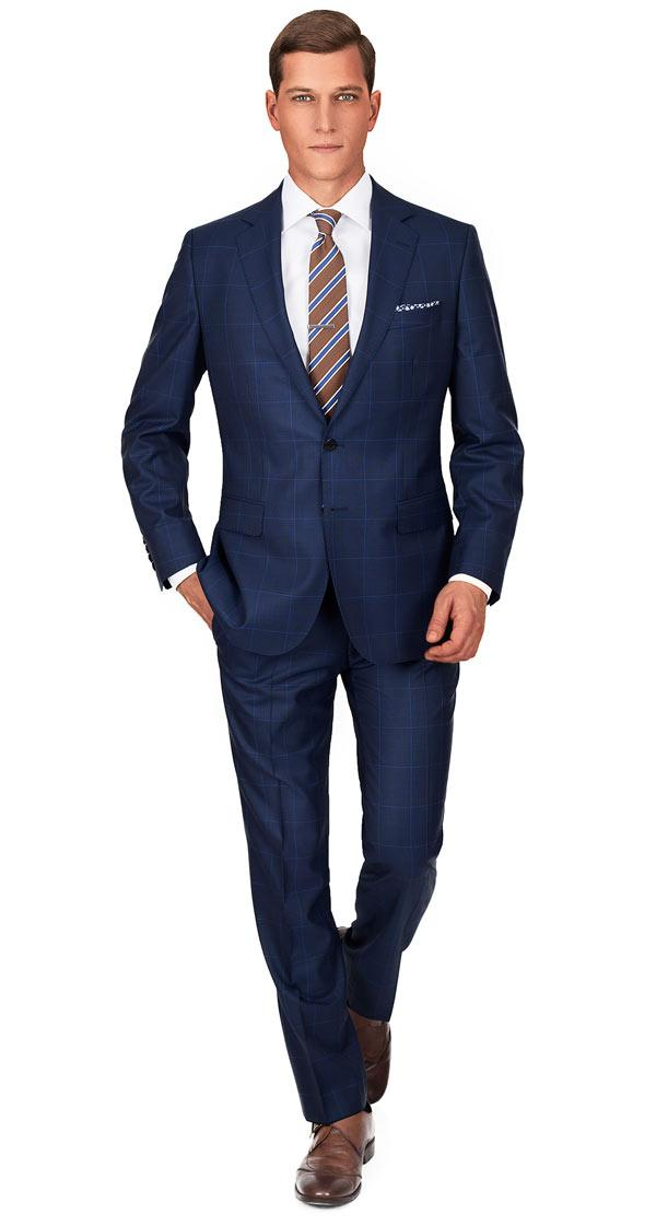 Premium Navy & Blue Plaid Suit