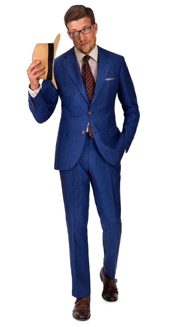 Intense Blue Linen Suit