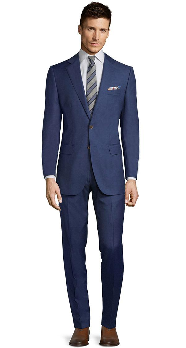 Suit in Intense Blue Pick & Pick Wool
