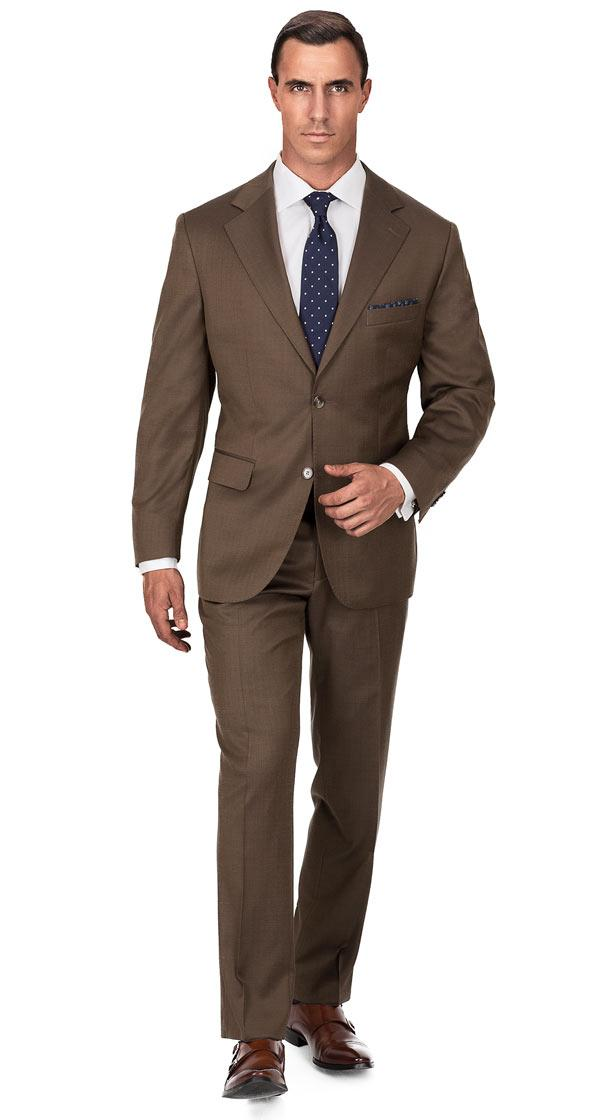 Premium Coffee Brown Wool & Silk Suit