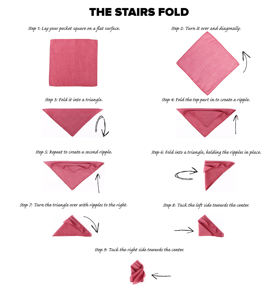 stairs fold pocket square