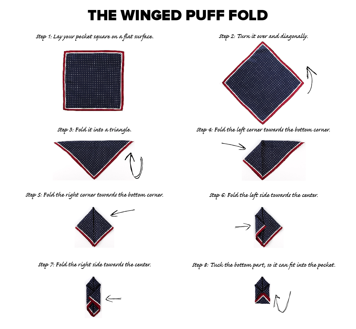 winged puff fold pocket square